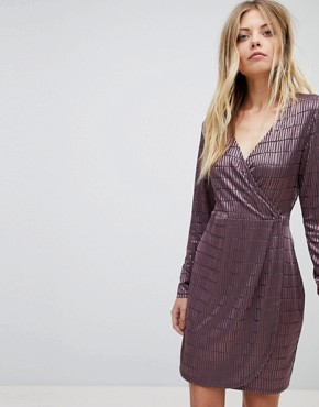 photo Jacquard Detail Wrap Dress by French Connection, color Tyrian Rose - Image 1