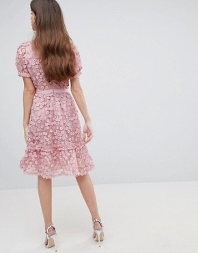 photo Lace Applique Dress with Mesh Panelling by French Connection, color Teagown - Image 2