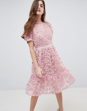 photo Lace Applique Dress with Mesh Panelling by French Connection, color Teagown - Image 1