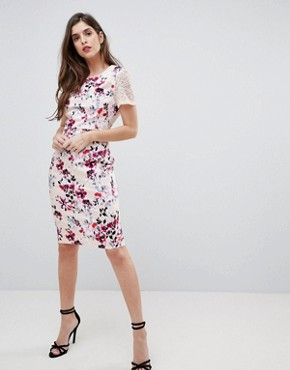 photo Floral and Lace Bodycon Dress by French Connection, color Barley Pink - Image 1