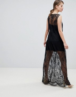 photo Mesh Embroidered Maxi Dress by French Connection, color Black - Image 2