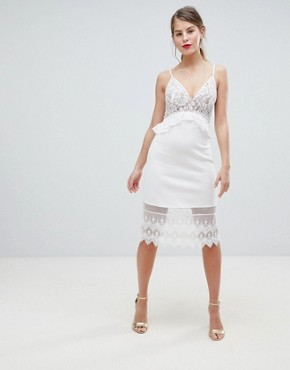 photo Strappy Lace Midi Dress by French Connection, color Nude - Image 1