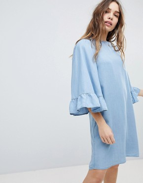 photo Denim Shift Dress Wth Ruffle Sleeve by Only, color Blue - Image 1