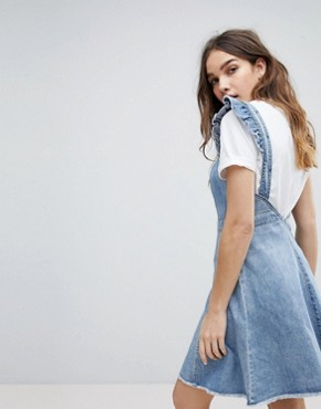 photo Cami Ruffle Denim Pinafore Dress by Only, color Blue - Image 2