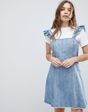 photo Cami Ruffle Denim Pinafore Dress by Only, color Blue - Image 1