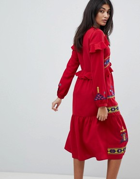 photo Aztec Embroidered Midi Ruffle Dress by ASOS DESIGN Premium, color Red - Image 2