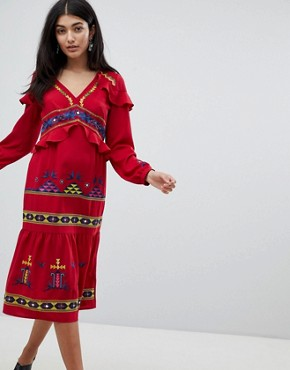 photo Aztec Embroidered Midi Ruffle Dress by ASOS DESIGN Premium, color Red - Image 1