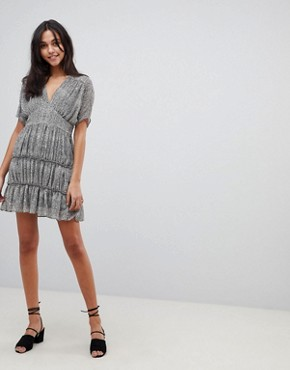 photo Soft Mini Dress with Tiers in Animal Print by ASOS DESIGN, color Multi - Image 4