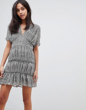 photo Soft Mini Dress with Tiers in Animal Print by ASOS DESIGN, color Multi - Image 1