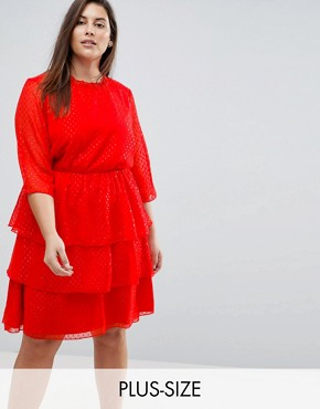 photo Sparkle Ruffle Dress Skater Dress by Junarose, color Red - Image 1