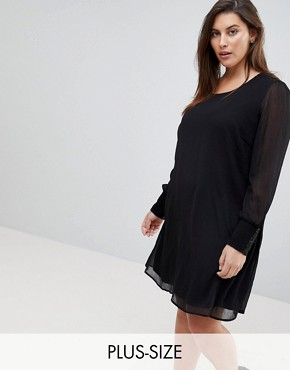 photo Skater Dress with Sheer Sleeve and Sequin Cuff by Junarose, color Black - Image 1