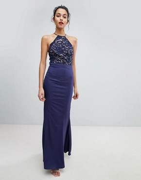 photo High Neck Lace Dress with Tie Back Detail by Jarlo, color Navy - Image 2