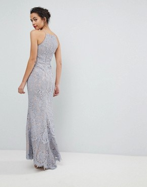photo All Over Lace Off High Neck Maxi Dress by Jarlo, color Soft Grey - Image 2