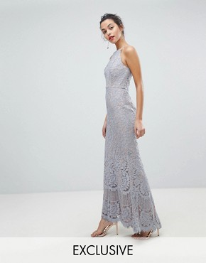 photo All Over Lace Off High Neck Maxi Dress by Jarlo, color Soft Grey - Image 1