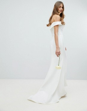 photo Bardot Maxi Dress with Thigh Split and Train Detail by Jarlo, color White - Image 2