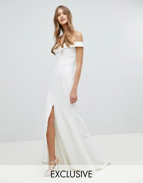 photo Bardot Maxi Dress with Thigh Split and Train Detail by Jarlo, color White - Image 1