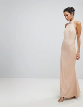 photo High Neck Ruched Open Back Maxi Dress by Jarlo, color Nude - Image 2