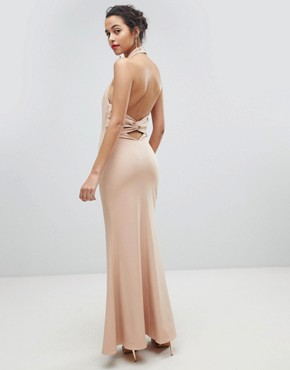 photo High Neck Ruched Open Back Maxi Dress by Jarlo, color Nude - Image 1