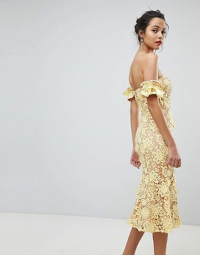 photo All Over Cutwork Lace Bardot Midi Dress with Tie Sleeve Detail by Jarlo, color Lemon - Image 2