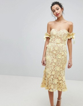 photo All Over Cutwork Lace Bardot Midi Dress with Tie Sleeve Detail by Jarlo, color Lemon - Image 1