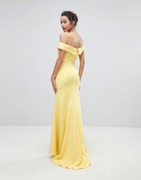 photo Bardot Maxi Dress with Thigh Split and Train Detail by Jarlo, color Lemon - Image 2