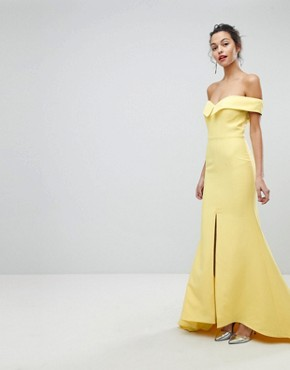photo Bardot Maxi Dress with Thigh Split and Train Detail by Jarlo, color Lemon - Image 1