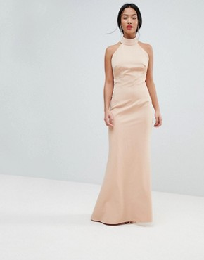 photo High Neck Ruched Open Back Maxi Dress by Jarlo Petite, color Nude - Image 2