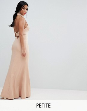 photo High Neck Ruched Open Back Maxi Dress by Jarlo Petite, color Nude - Image 1