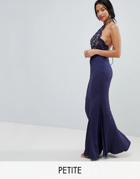 photo High Neck Lace Dress with Tie Back Detail by Jarlo Petite, color Navy - Image 1