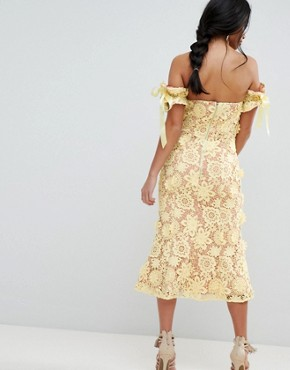 photo All Over Cutwork Lace Bardot Midi Dress with Tie Sleeve Detail by Jarlo Petite, color Lemon - Image 2