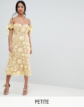 photo All Over Cutwork Lace Bardot Midi Dress with Tie Sleeve Detail by Jarlo Petite, color Lemon - Image 1