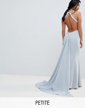 photo Open Back Maxi Dress with Train Detail by Jarlo Petite, color Soft Grey - Image 1