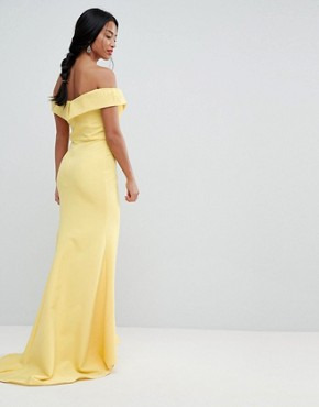 photo Bardot Maxi Dress with Thigh Split and Train Detail by Jarlo Petite, color Lemon - Image 2