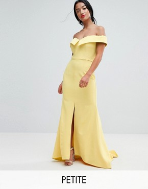 photo Bardot Maxi Dress with Thigh Split and Train Detail by Jarlo Petite, color Lemon - Image 1