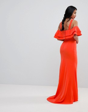 photo Oversized Ruffle Front Maxi Dress by Jarlo Petite, color Tomato Orange - Image 2