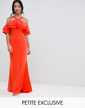 photo Oversized Ruffle Front Maxi Dress by Jarlo Petite, color Tomato Orange - Image 1