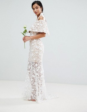 photo All Over Embroidered Lace Maxi Dress with Tie Shoulder Detail by Jarlo Petite, color White - Image 2