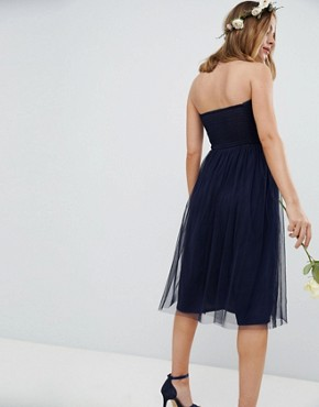 photo Bridesmaid Bandeau Tulle Midi Dress by ASOS DESIGN Petite, color Navy - Image 2