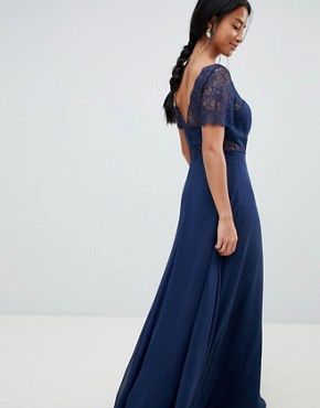 photo Lace Insert Panelled Maxi Dress by ASOS DESIGN Petite, color Navy - Image 2