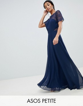 photo Lace Insert Panelled Maxi Dress by ASOS DESIGN Petite, color Navy - Image 1