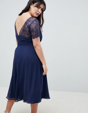 photo Lace Insert Panelled Midi Dress by ASOS DESIGN Curve, color Navy - Image 2
