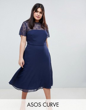 photo Lace Insert Panelled Midi Dress by ASOS DESIGN Curve, color Navy - Image 1