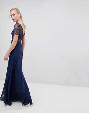 photo Lace Insert Panelled Maxi Dress by ASOS TALL, color Navy - Image 2