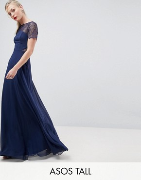photo Lace Insert Panelled Maxi Dress by ASOS TALL, color Navy - Image 1
