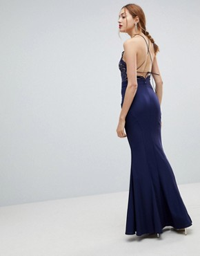 photo High Neck Lace Dress with Tie Back Detail by Jarlo Tall, color Navy - Image 2