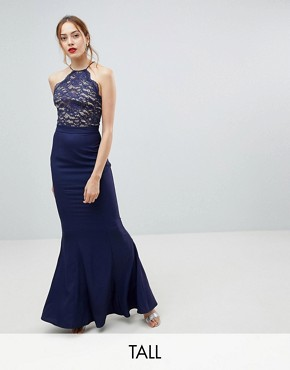 photo High Neck Lace Dress with Tie Back Detail by Jarlo Tall, color Navy - Image 1