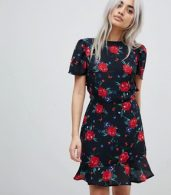 photo Tea Dress with Cut Out Back in All Over Floral Print by Fashion Union Petite, color Black Multi - Image 3