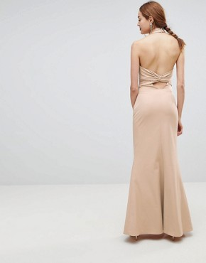 photo High Neck Ruched Open Back Maxi Dress by Jarlo Tall, color Nude - Image 2