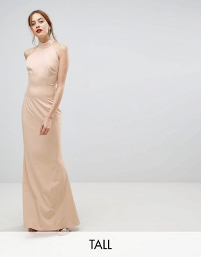 photo High Neck Ruched Open Back Maxi Dress by Jarlo Tall, color Nude - Image 1