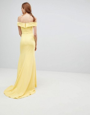 photo Bardot Maxi Dress with Thigh Split and Train Detail by Jarlo Tall, color Lemon - Image 2